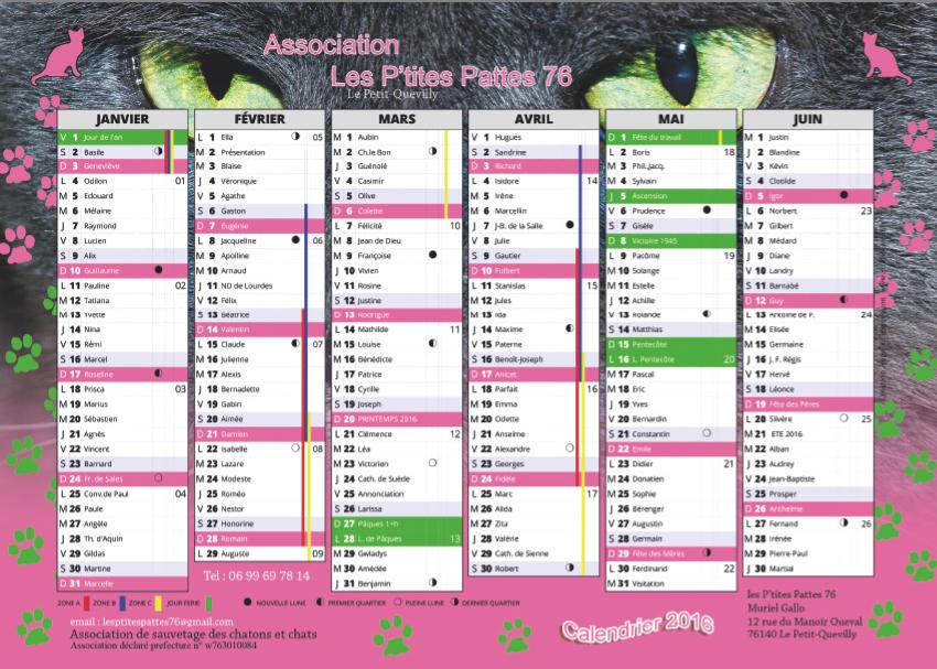 Calendrier Association Les P'tites Pattes76