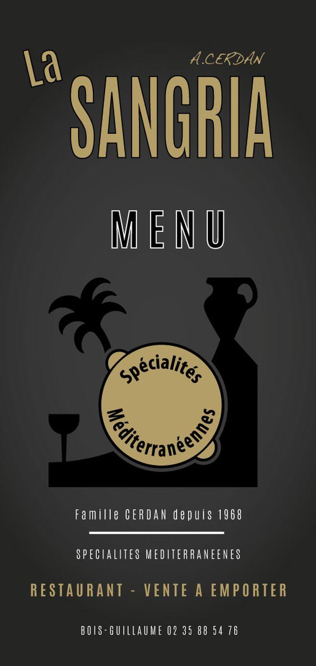 Studio CARON Création Carte Et Menu Pour Restaurant La Sangria Bois Guillaume 76